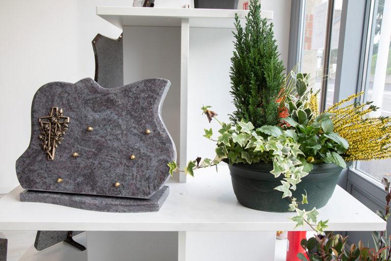 plaque funeraire et plante